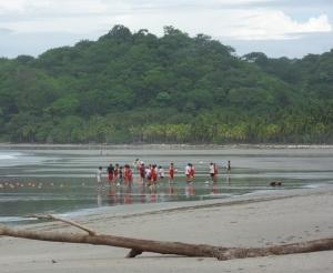 Soccer practice on the beach