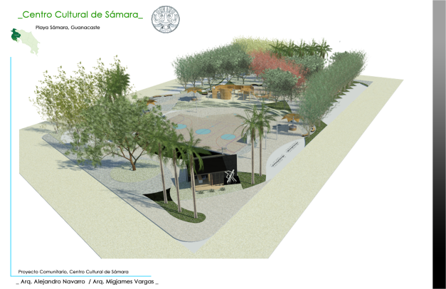3d rendering of park in Playa Samara Beach costa rica